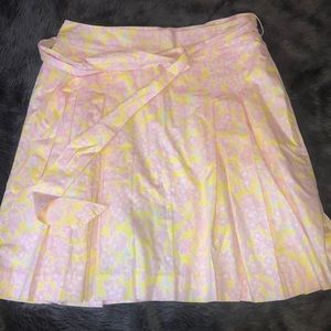 Lilly Pulitzer Pink Yellow Skirt 10 Pleated Pocket